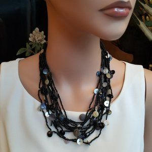 Dark Brown Micro Beaded Necklace with Button Beads